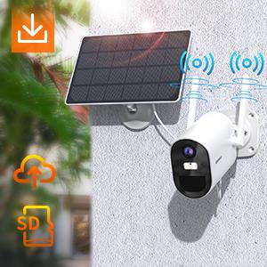 solar camera with 2 antenna, stable connection, sd card and cloud storage available