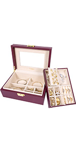 Two-Tray jewelry box- Elegant Purple