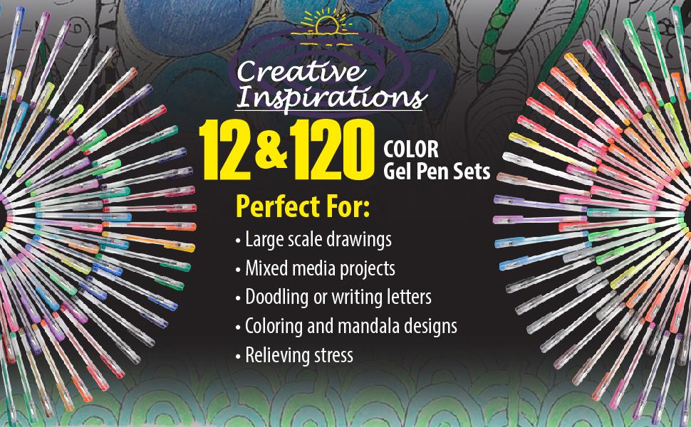 creative inspirations 12 amp; 120 color gel pen sets