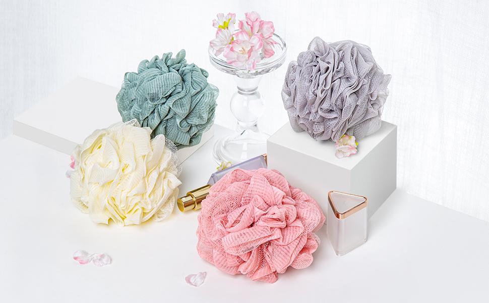 Bath Loofah Set of 4. Color - Light Grey, Pink, Beige, Light Green