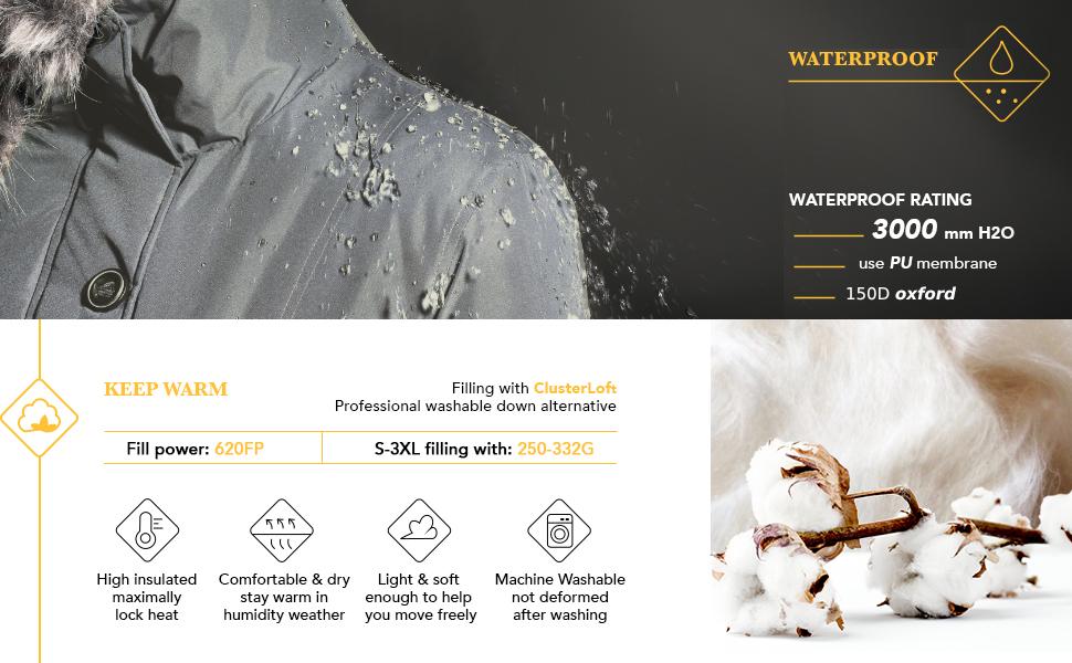 Wantdo Waterproof Parka Long Puffer Jacket