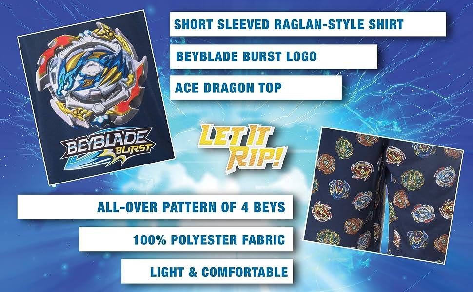 Beyblade Burst Boys' Wizard and Spinner Tops 2 Piece Pant/Raglan Pajama Set