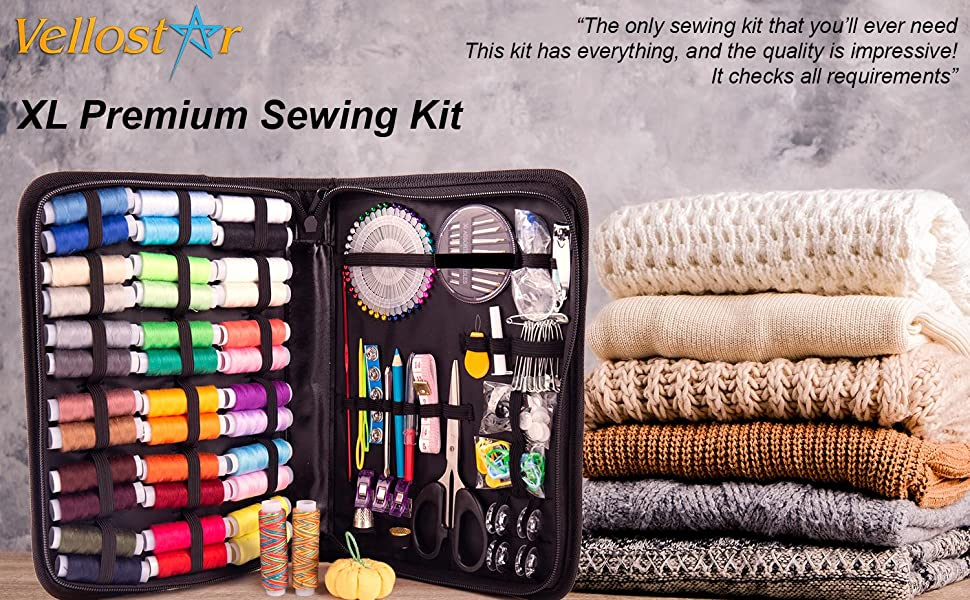 Vellostar XL Sewing kit, sewing kits for adults, needle and thread