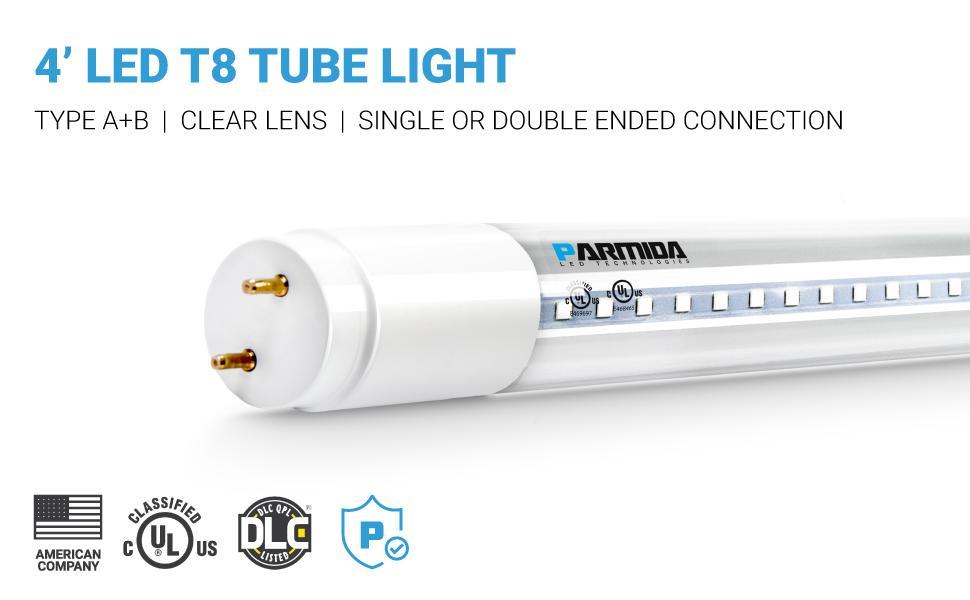 4' LED T8 Tube Light Type A+B Clear Lens