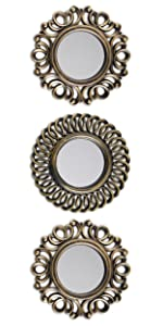 Pack of 3 golden plastic mirrors with eyebolt to hang on the wall