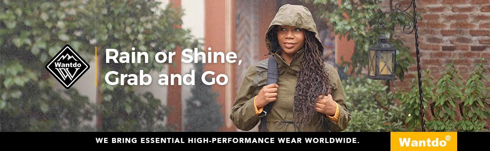 Wantdo Women's Waterproof Rain Jacket Windproof Trench Coat Hiking Windbreaker