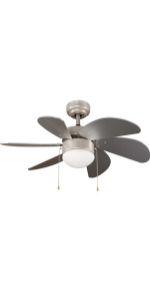 Ventilateur de plafond avec lumière argentée