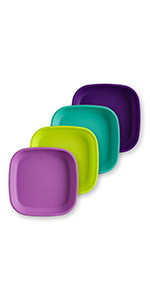 purple lime green aqua amethyst large 7in plate for toddlers and adults