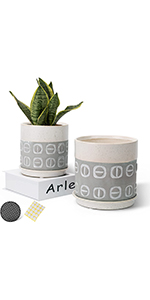 6.25+5 inch ceramic plant pots with saucers