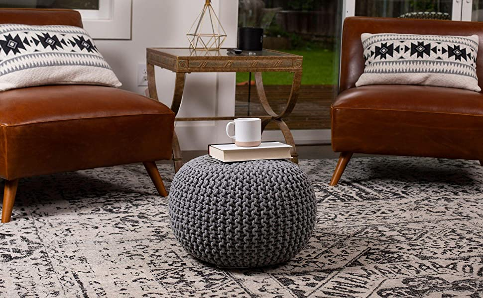handwoven ottoman, stool, chair, pouf, woven pouf, living room seating, foot rest, cute ottoman