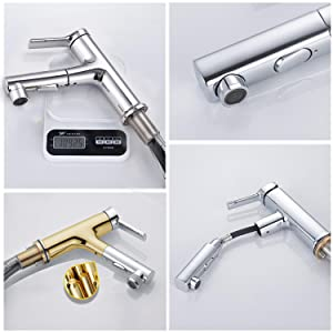 Pull Out Chrome Bathroom Sink Faucet made of high-quality brass for excellent workmanship