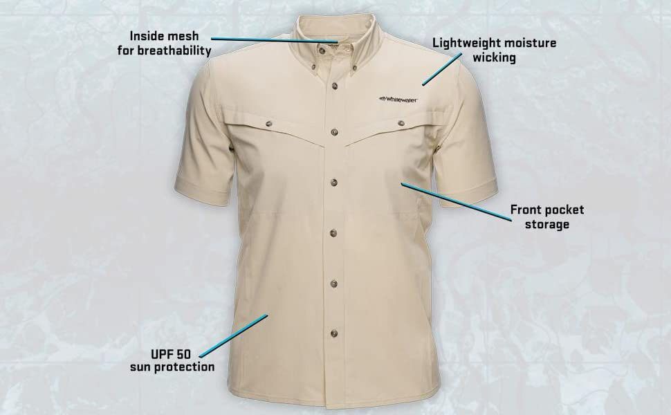Whitewater Rapids Short Sleeve Fishing Shirt Callouts Front