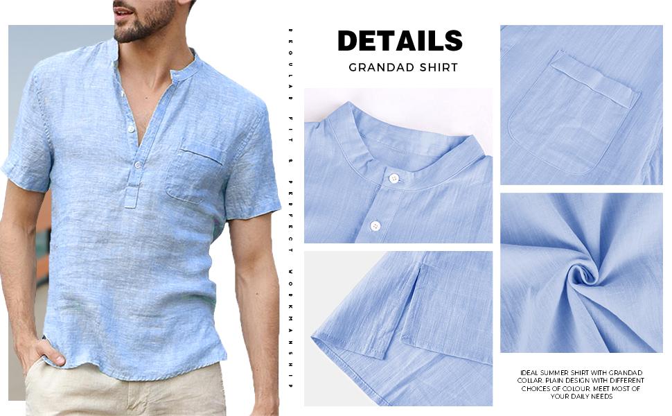 Details Grandad Shirt 1 Pocket Regular Fit Cotton Linen Blend