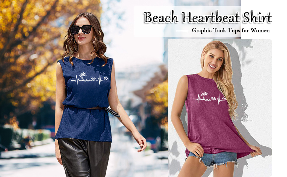 Beach Heartbeat Tank Tops for Women
