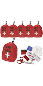 ASA Techmed 6-Pack CPR Rescue Mask, Pocket Resuscitator with One Way Valve
