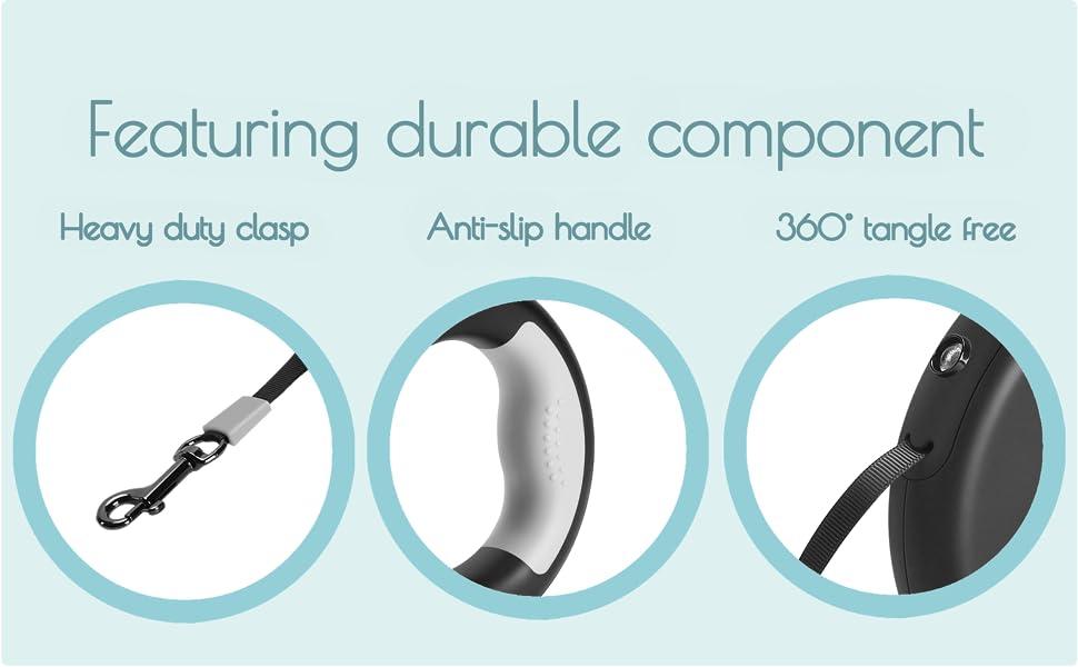 Heavy Duty Clasp, Anti-Slip Handle, 360° tangle free - Black