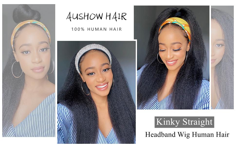 Kinky Straight Headband Wig Human Hair