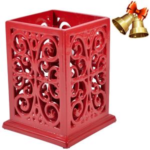 red utensil holder