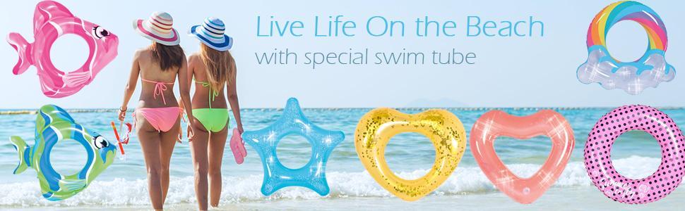 OuTera Seashell Shape Glitter Swim Raft