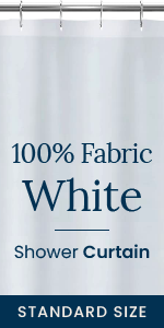 Polyester Fabric White Shower Curtain