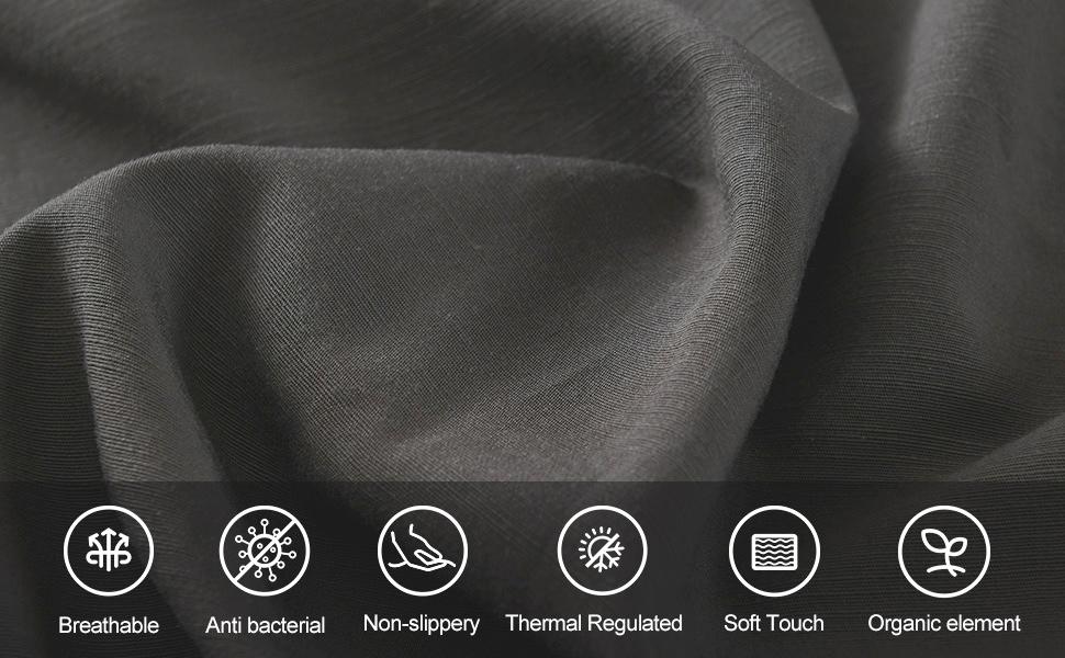 charcoal grey bamboo cotton linen sheets set (2.)