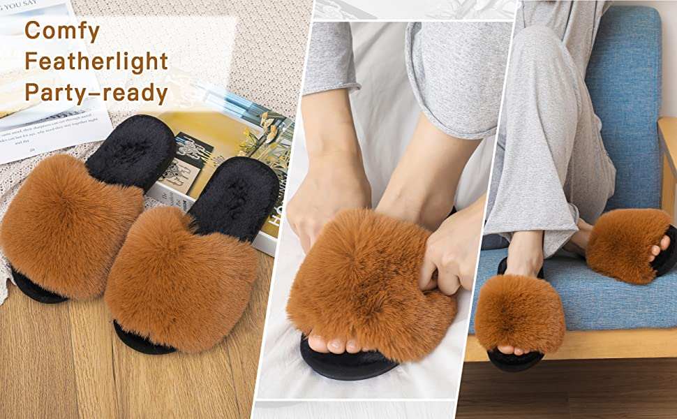 womens slippers fur slides women's slippers for women indoor outdoor slippers rubber sole slippers