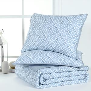 Light blue Watercolor Geometric  3-Piece quilt Set-2