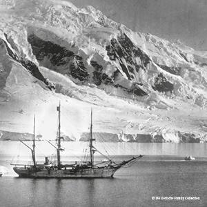 The Belgica anchored in the Gerlache Straitfirst few weeks of 1898. De Gerlache Family Collection