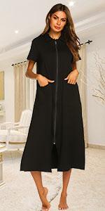 Ekouaer Women Zipper Robe Short Sleeve Full Length Sleepwear Duster Housecoat with Pocket