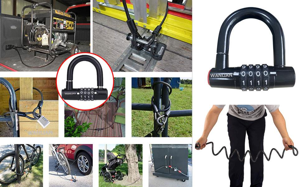 Bicycle lock cable, bicycle chain lock, safety chain lock kit, bicycle lock,