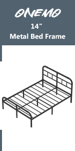 """14"""" metal bed frame with headboard and footboard"""