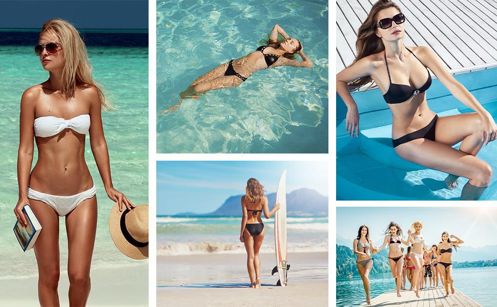 Costumi da Bagno Donna Due Pezzi Bikini Push Up Reggiseno Imbottito Regolabile Halter