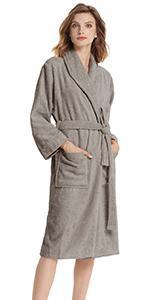 Womens Shawl Collar Terry Cloth Robes