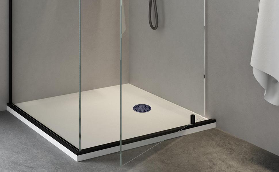 4 1/4 inch round shower floor drain, black