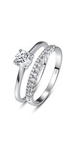 Wedding Band Engagement Ring Bridal Set