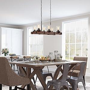 farmhouse dining room rectangular lighting