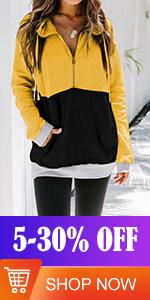 FARYSAYS Womens Long Sleeve Pullover Sweatshirt Color Block Jackets Coat with Pockets