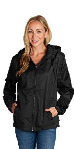 lightweight  rain jacket women exercise ladies black wind breaker hooded mesh lined full zipper