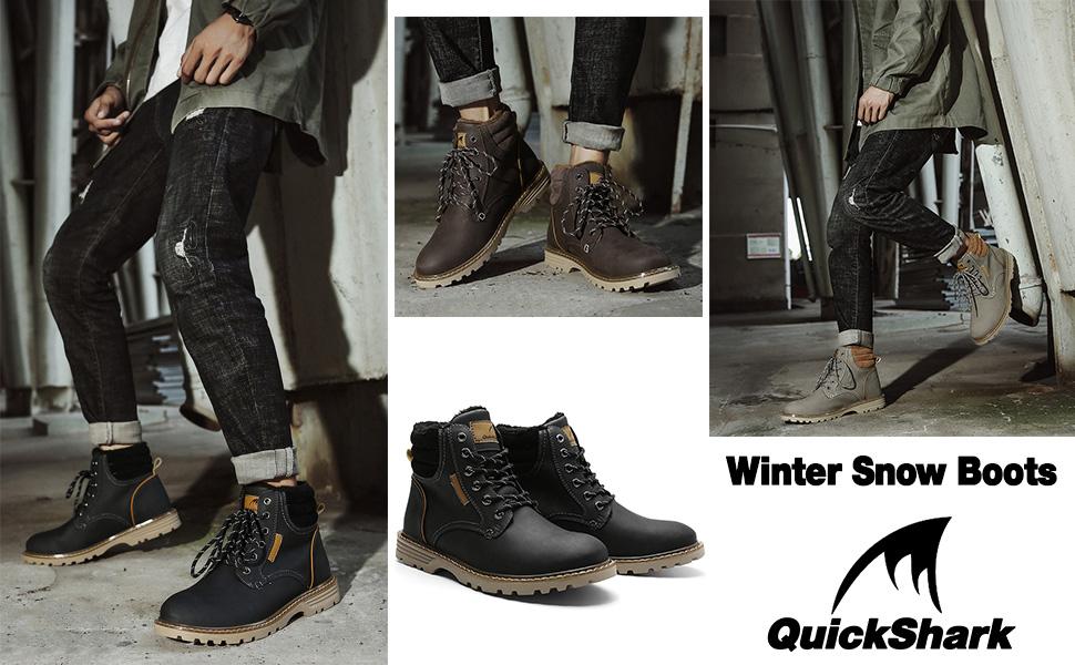 Quickshark Mens Winter Snow Boots Waterproof