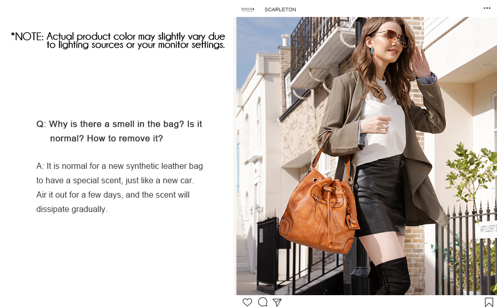 Scarleton modeling her drawstring bucket handbag for women.