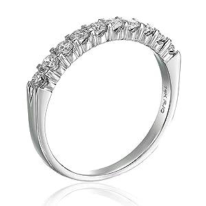Vir jewel  1/2 CT Diamond Wedding Band in 14K White Gold