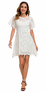 Cocktail Party Dresses for Womens Junior Girl V-Back Floral Lace Dress