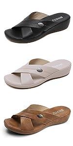 wedge sandals comfort Soft leather platform sandal summer outdoor open toe cross-strap slide sandals