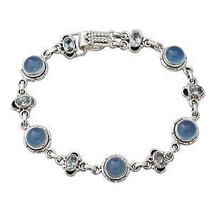 NOVICA,Gemstone,Silver,Link,Bracelet,Jewelry,Gift,For Women,Blue,Metal,For Wrist,Modern,Pearl,Chain