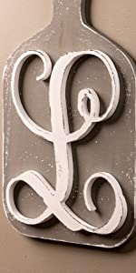 Unfinished WoodCo 13 Inch Letter L as an accent piece in a kitchen