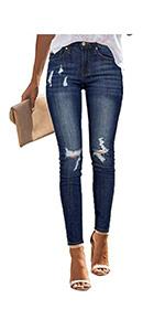Women's Ripped Denim Jeans Frayed Hem Skinny Stretch Jean Leggings Pants