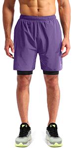 mens 2 in 1 running shorts 7 ''