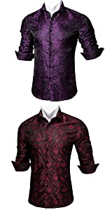 purple red black paisley shirts for men dress long sleeve big and tall