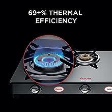 Preethi Blu Flame Sparkle Glass Top 3 Burner Gas Stove, Manual Ignition, Black2