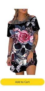 Women Crew Neck Skeleton Gothic Floral Short Sleeve Mini Dress